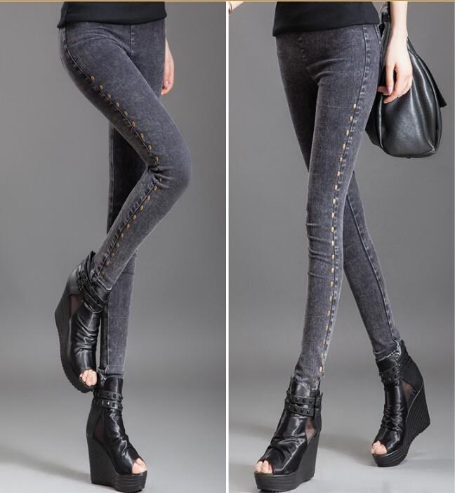 Gizaz.com Dark Grey Women Denim Skinny Jeans info@gizaz.com