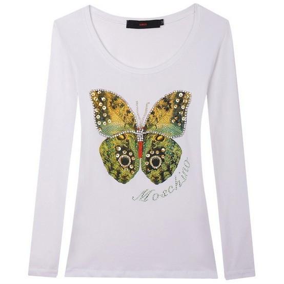 b9cb34c3 Gizaz.com Womens Butterfly Design Long Sleeve T-Shirts info@gizaz.com
