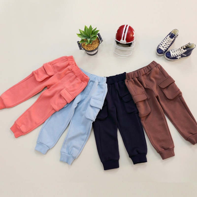 100% Cotton Girl Casual Cargo Trousers