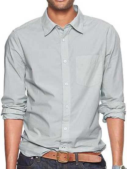 Casual Cotton Light Grey Plain Shirt