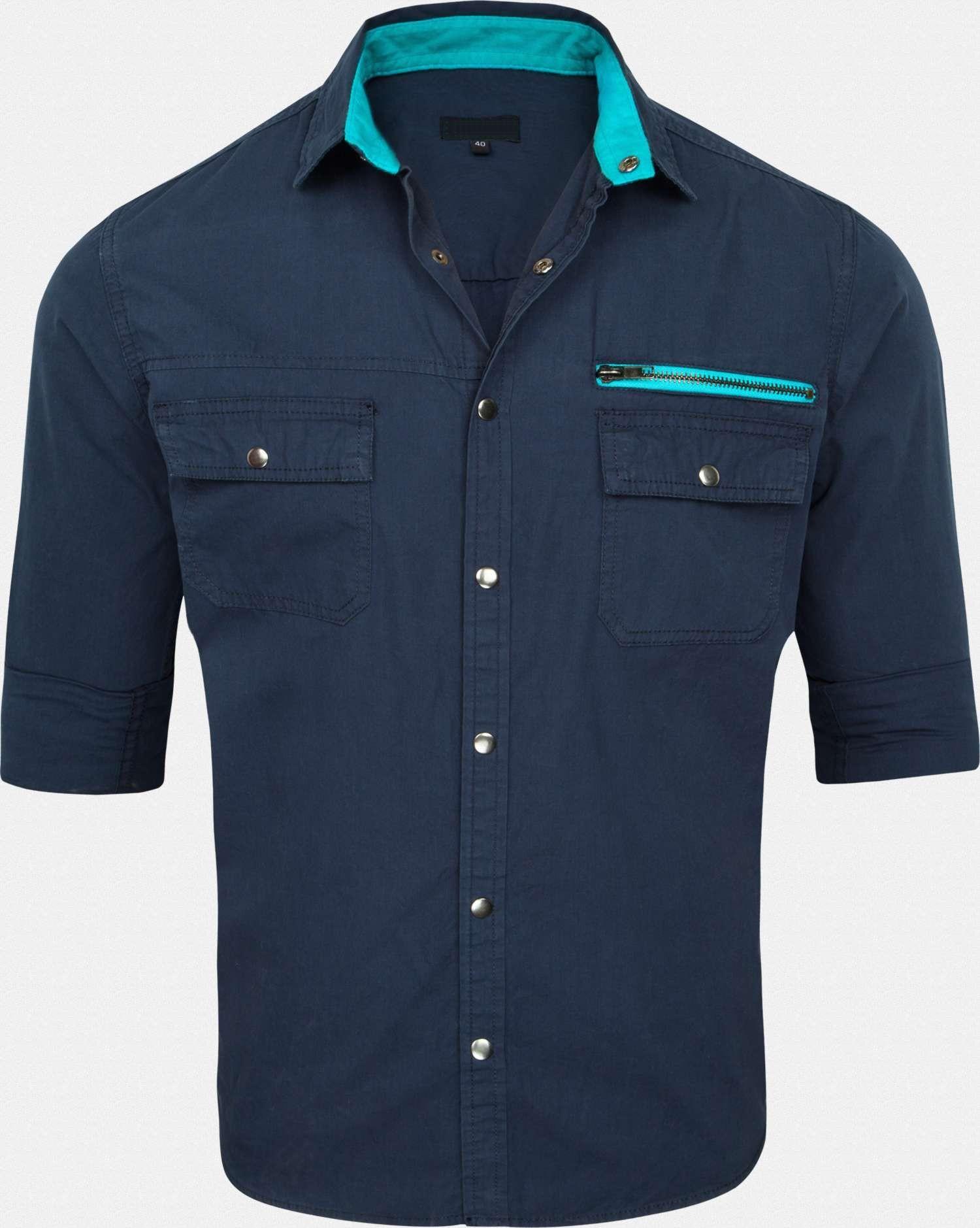 Mens Casual Cotton Blue Shirt