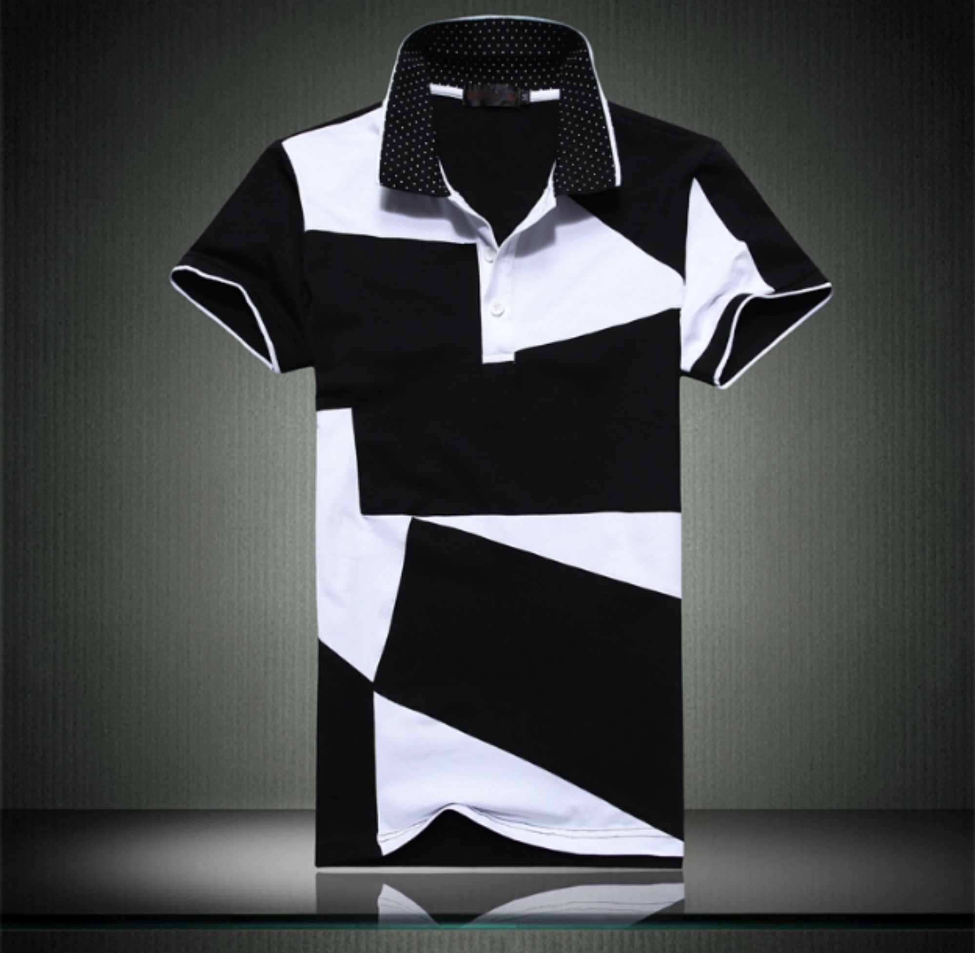 Black and White Stitching Cotton Short -Sleeved Polo T-Shirts