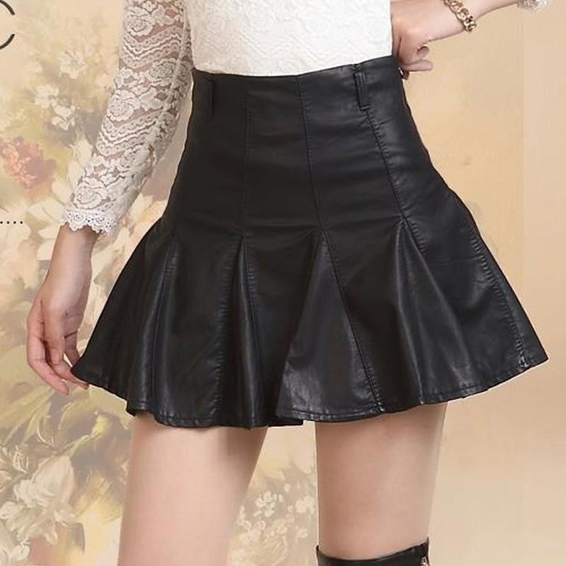 Black High Waist PU Leather Women Skirt