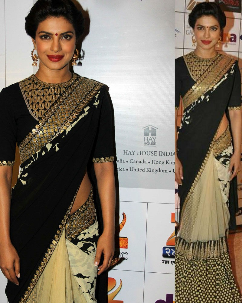 Black Net And Georgette Printed Saree