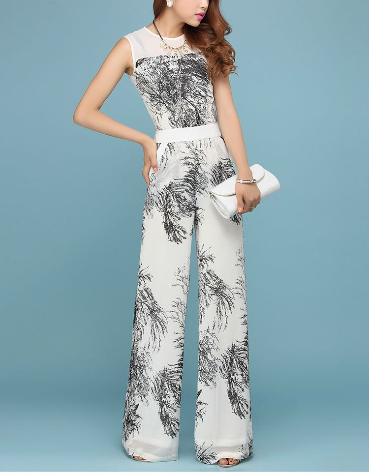 Black With White Wide Leg Chiffon Jumpsuit