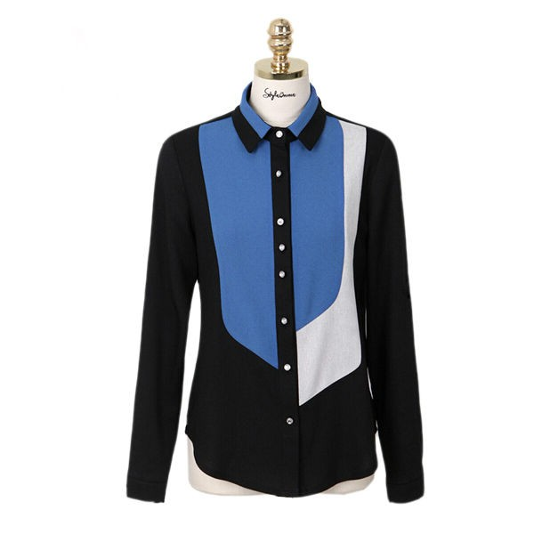 Block Collar Long Sleeve Chiffon Women Shirts