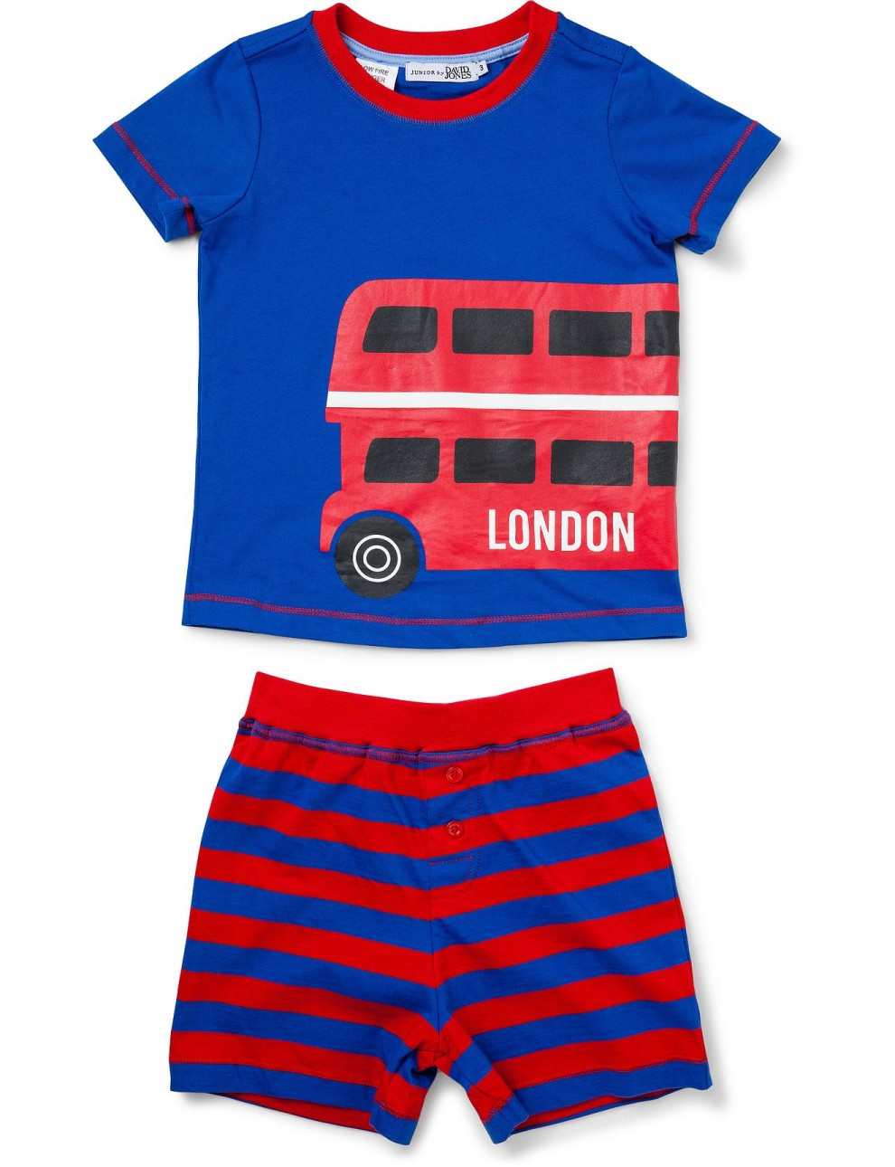 Blue And Red Printed Short Sleeve Nightwear