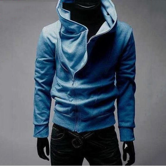 Blue High Collar Mens Cotton Jacket