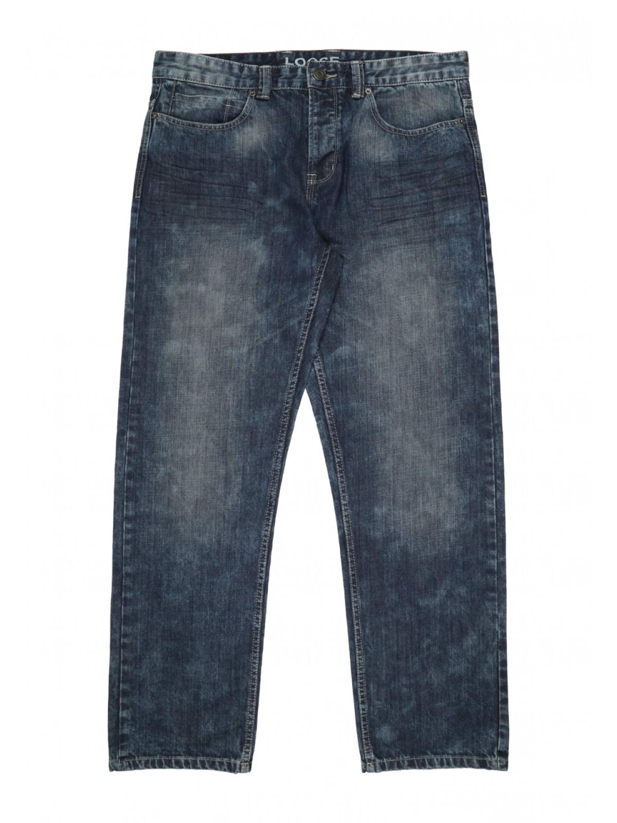 Blue Mid Wash Loose Fit Cotton Jeans