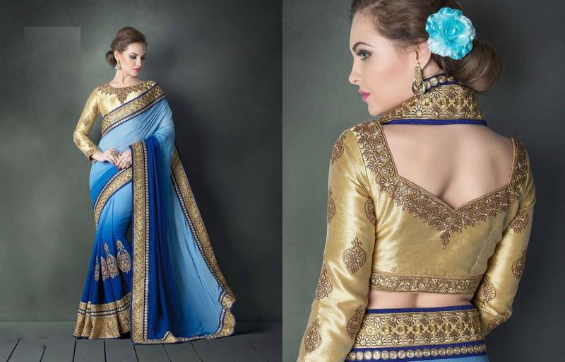 Blue & Sky Blue Gold Embroidery Sari With Blouse