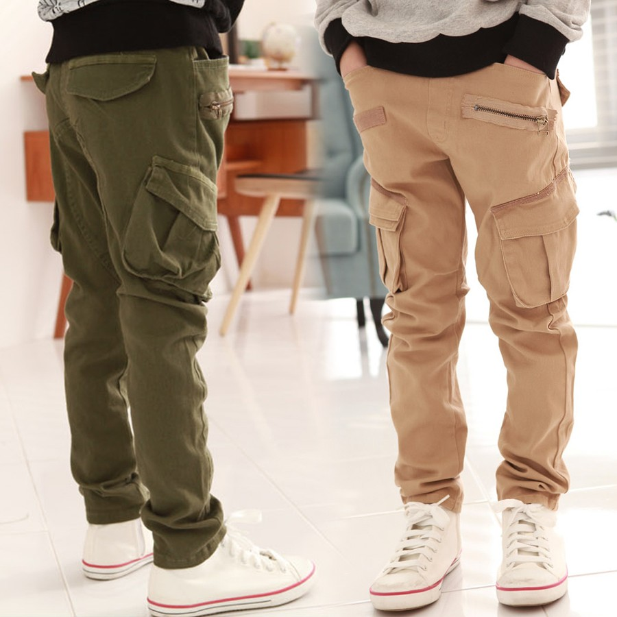 Boys Pockets Style Elastic Waist Cargo Trousers