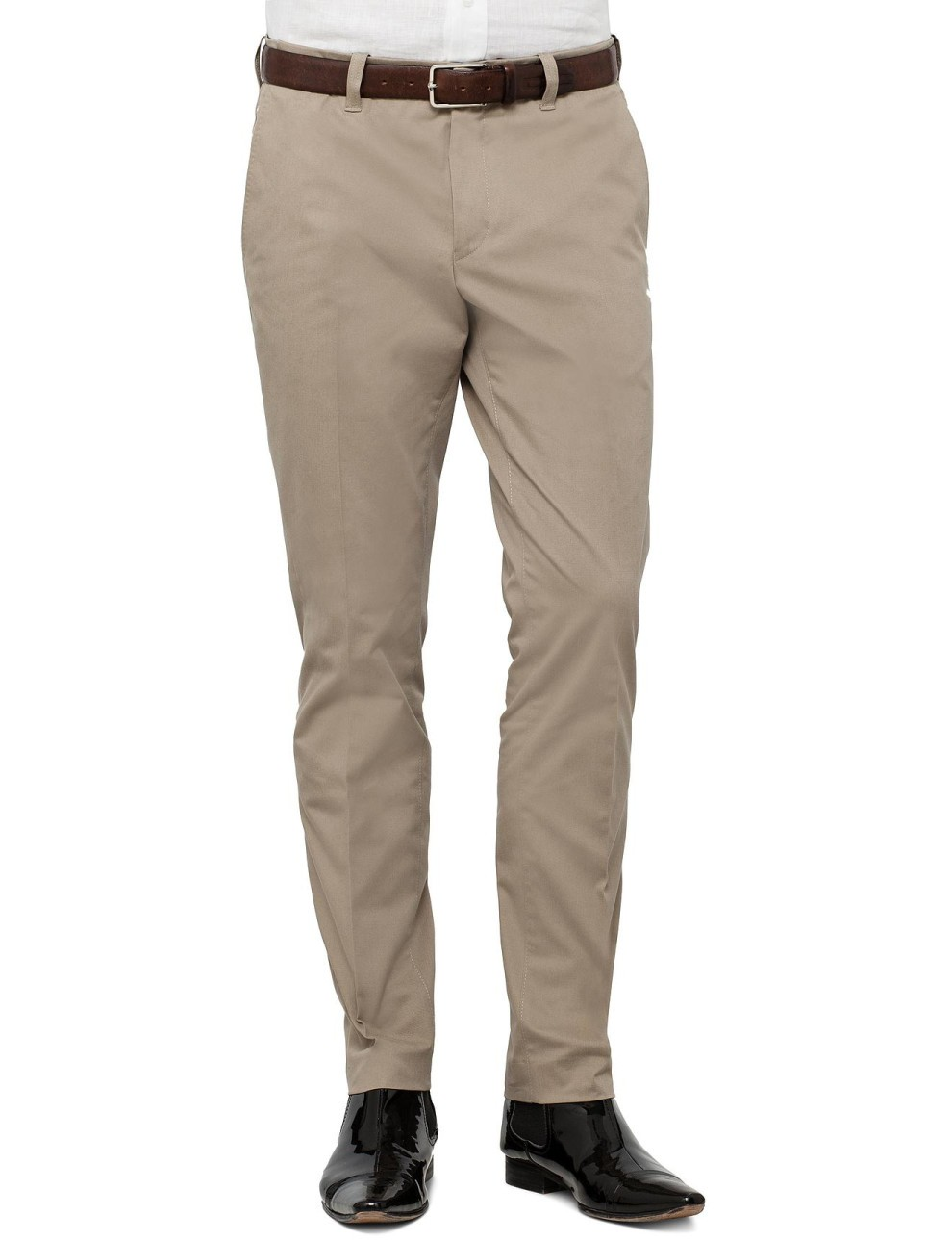 Camel Colored Stretch Cotton Formal Trouser