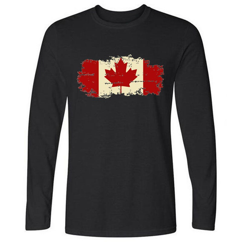 Canada Flag Canadian Leaf New Long Sleeve O-neck Men T shirt