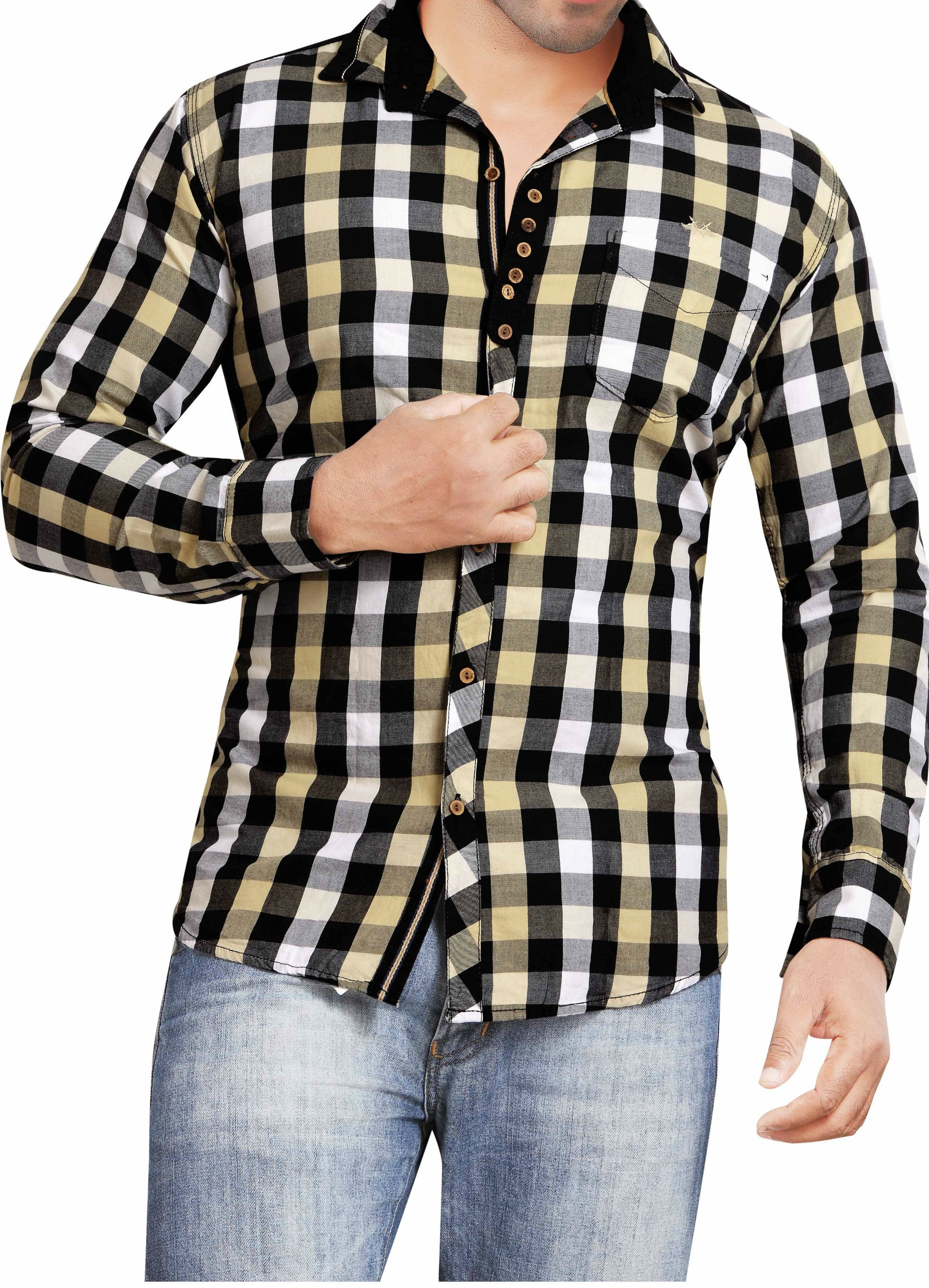 Casual Cotton White and Black Checks Shirt