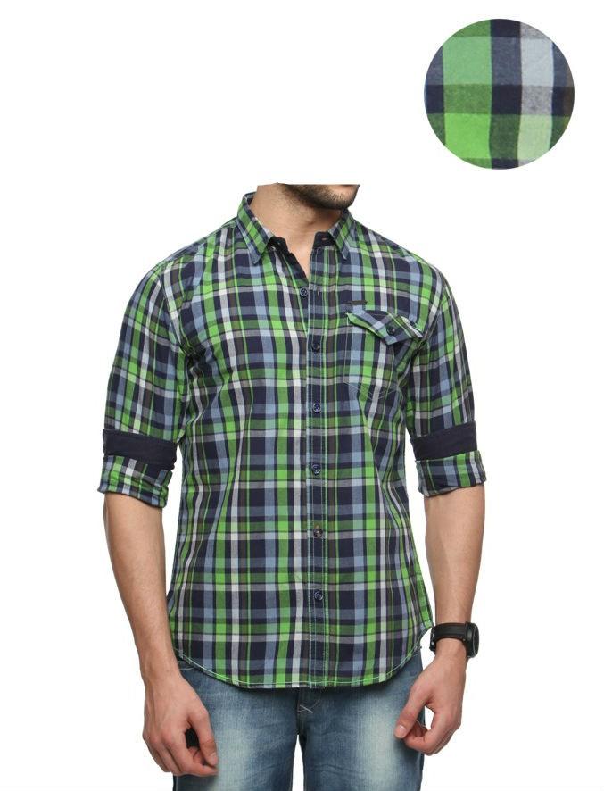 Casual Slim Fit Green Checkered Shirt
