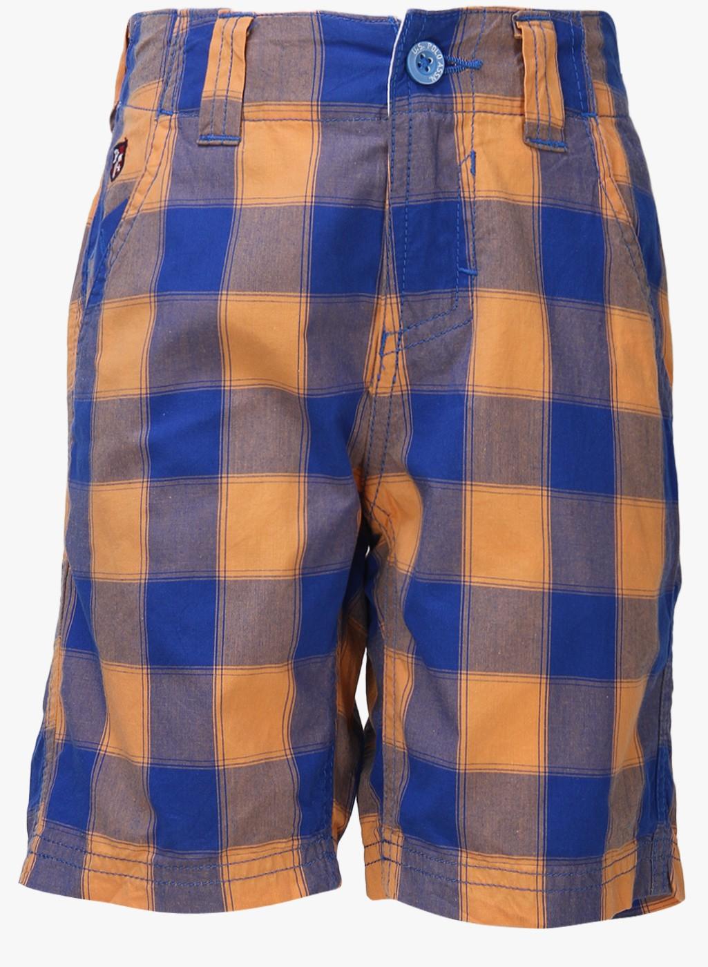 Checkered Pattern Blue Cotton Short