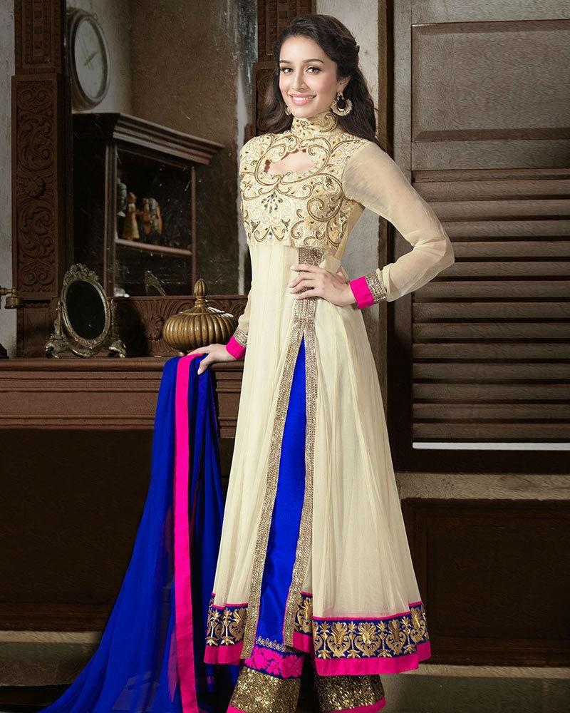 Cream And Blue Designer Long Anarkali Suit