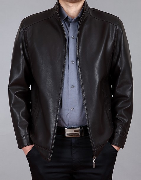 Dark Coffee Leather Plus Size Jacket