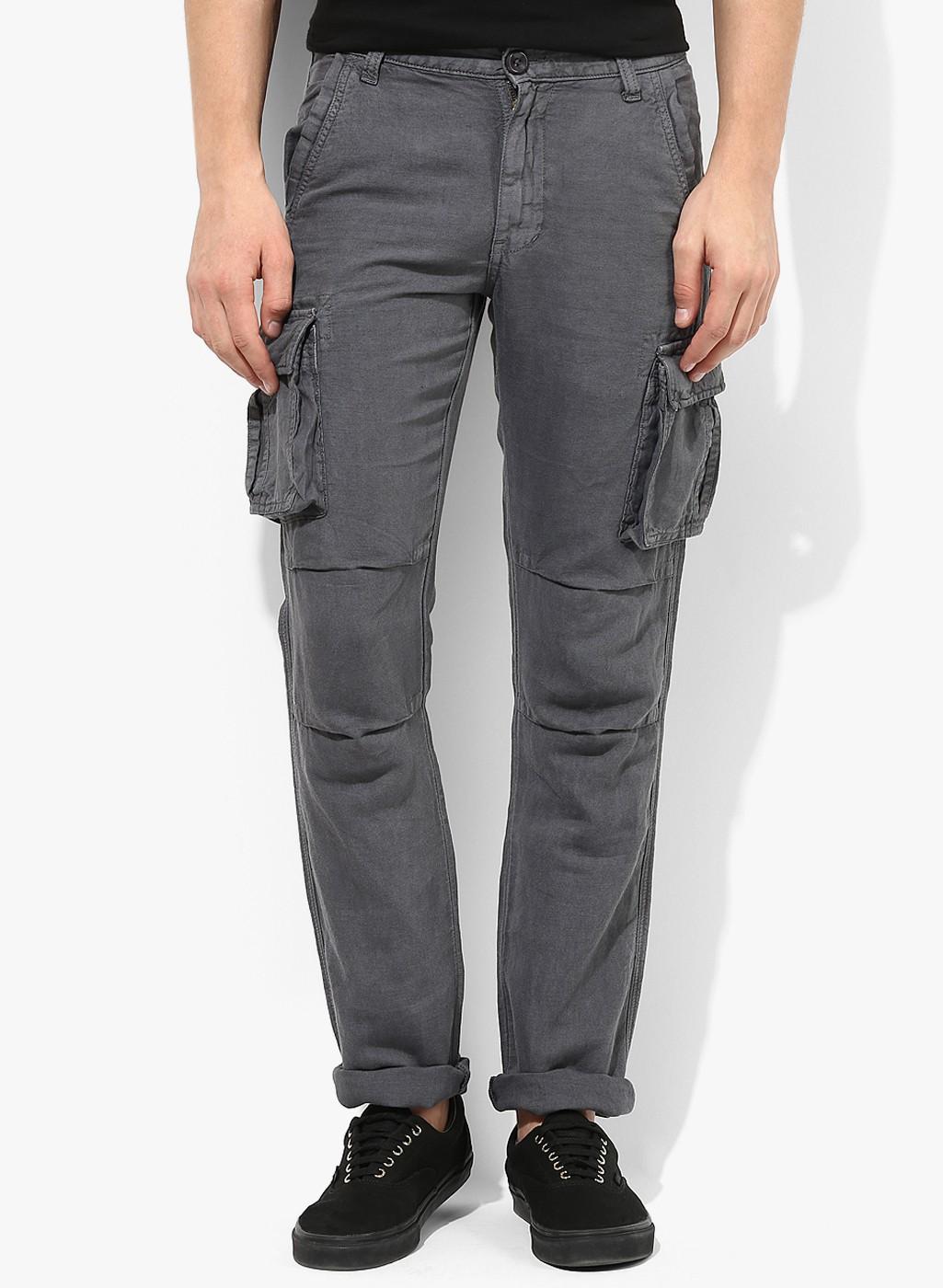 Dark Grey Slim Fit Cotton Cargo
