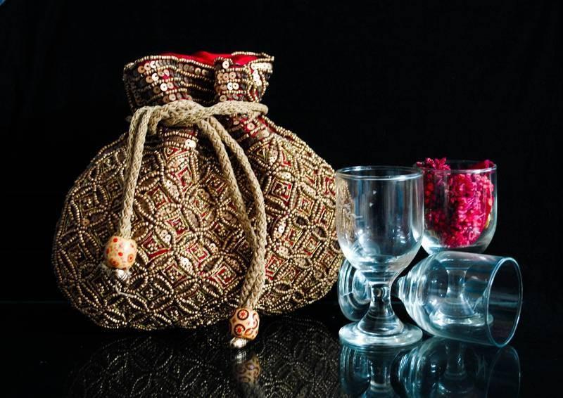 Designer Maroon Beaded Drawstring Potli Bag