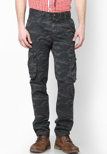 Mens Slim-Fit Grey Solid Cargo Trousers