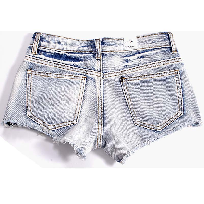 Elegant Light Blue Decorative Women Shorts