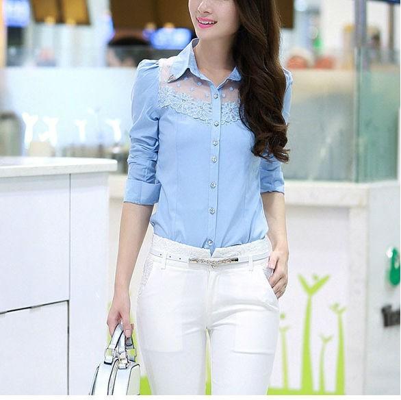 Elegant Slim Fit Lace Patchwork Casual Shirts