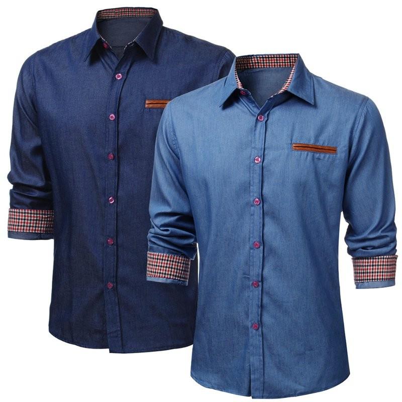 Fashion Luxury Casual Slim Fit Denim Shirts