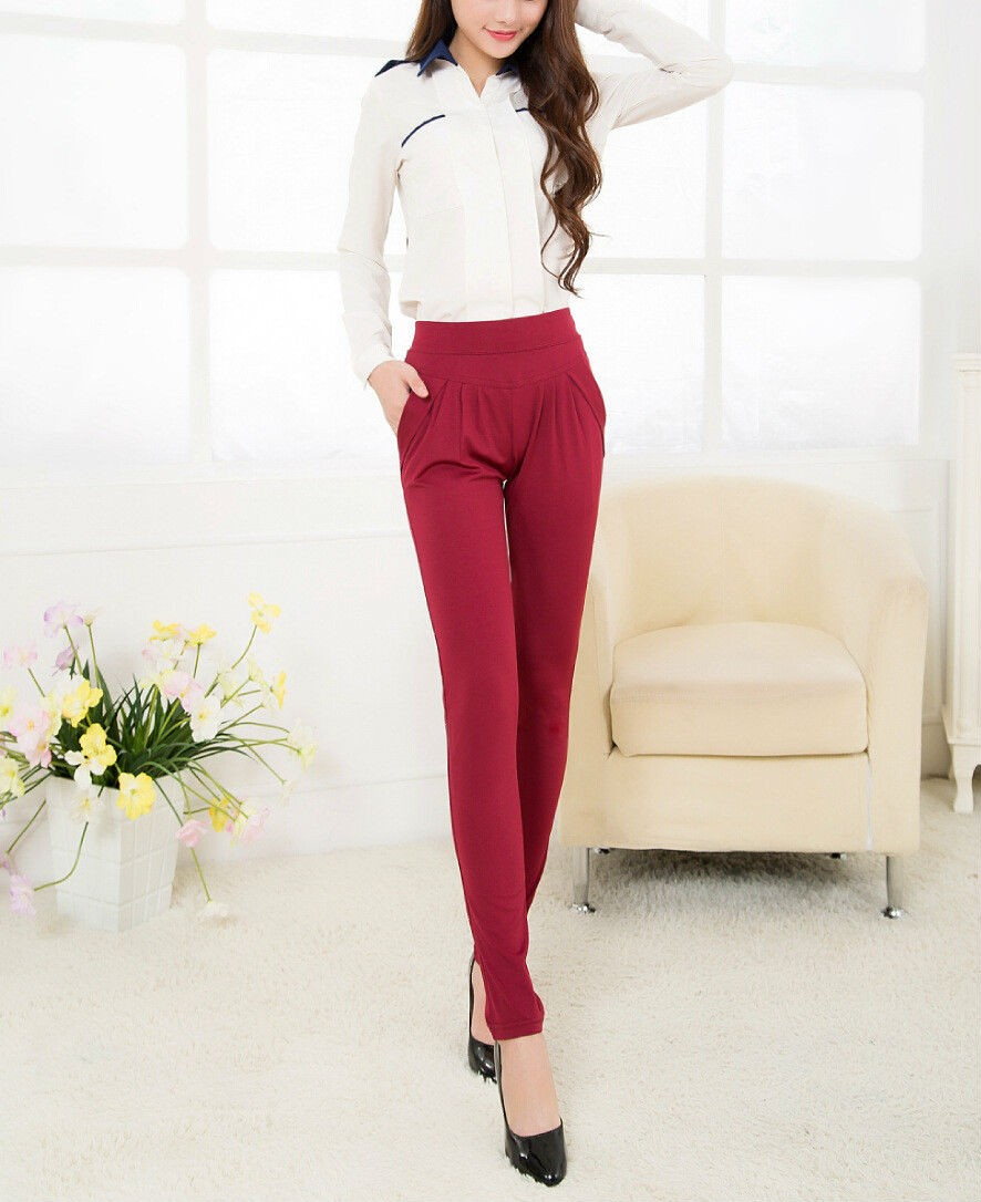 Fashionable Elastic Waist Women Trousers