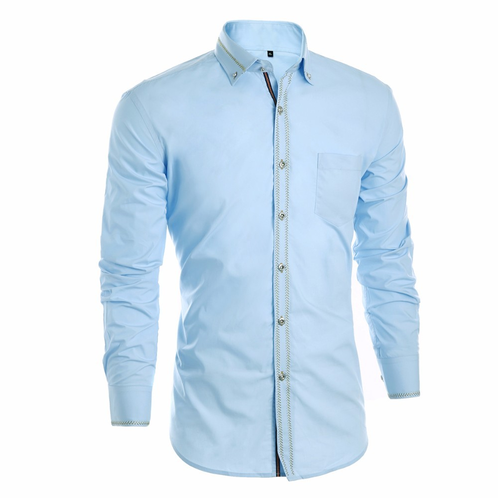 Formal Shirts Men Plus Size Slim Fit Long Sleeve