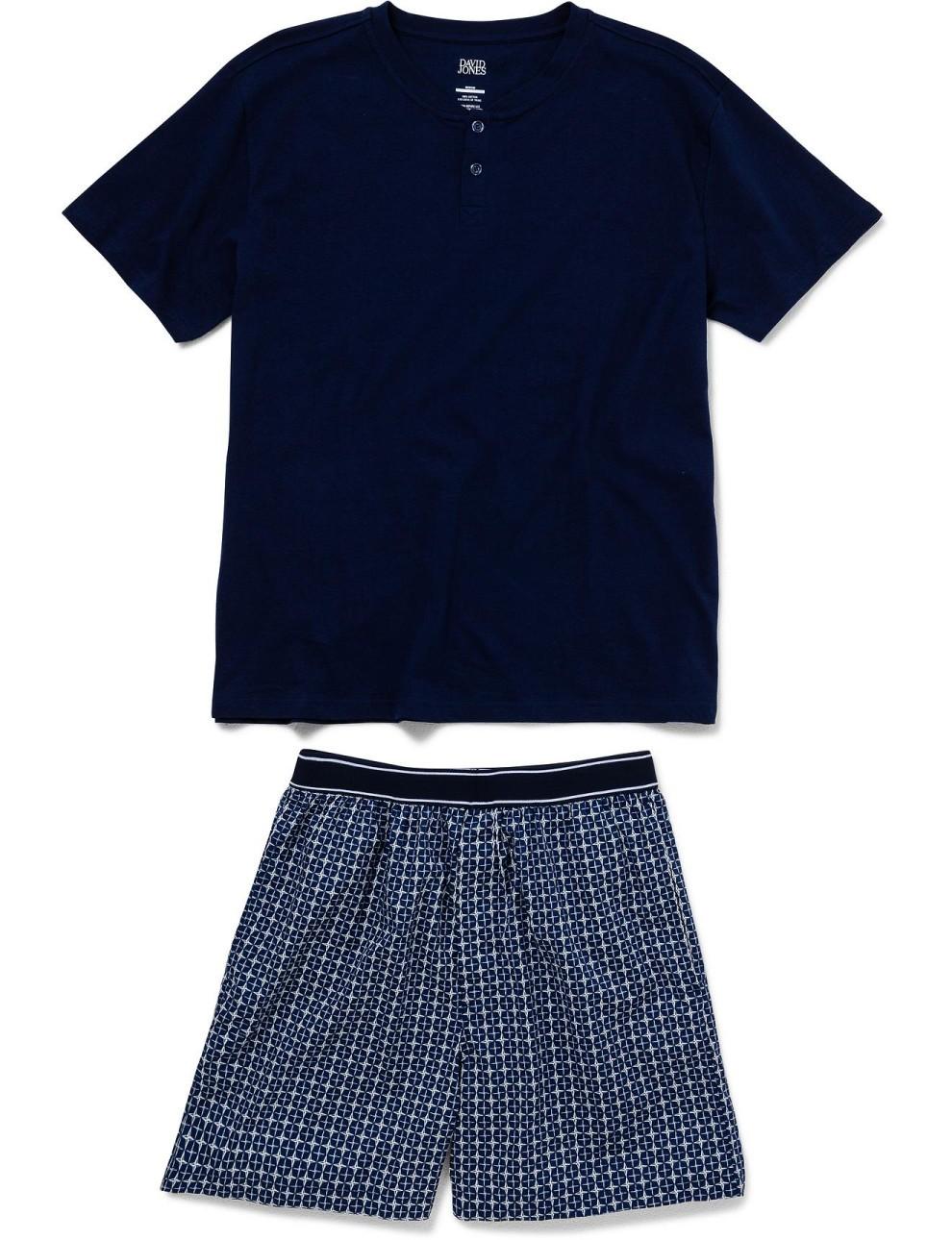 Geometric Print Navy Blue Cotton Nightwear