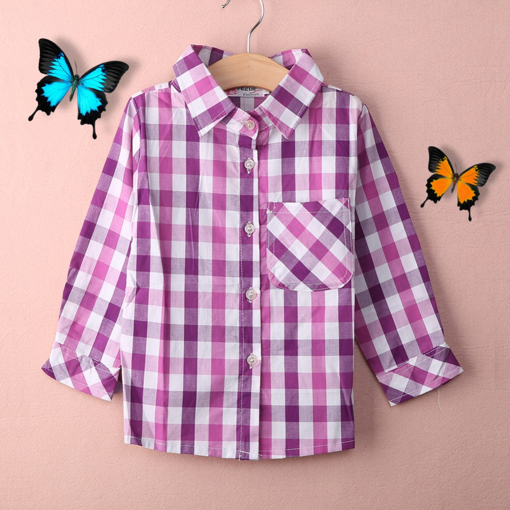 Girls Long Sleeves Classic Plaid Shirts