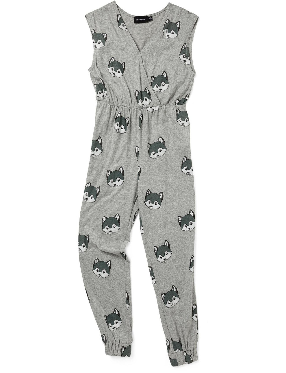 Grey Wolf Print Sleeveless Jumpsuit Nightwear