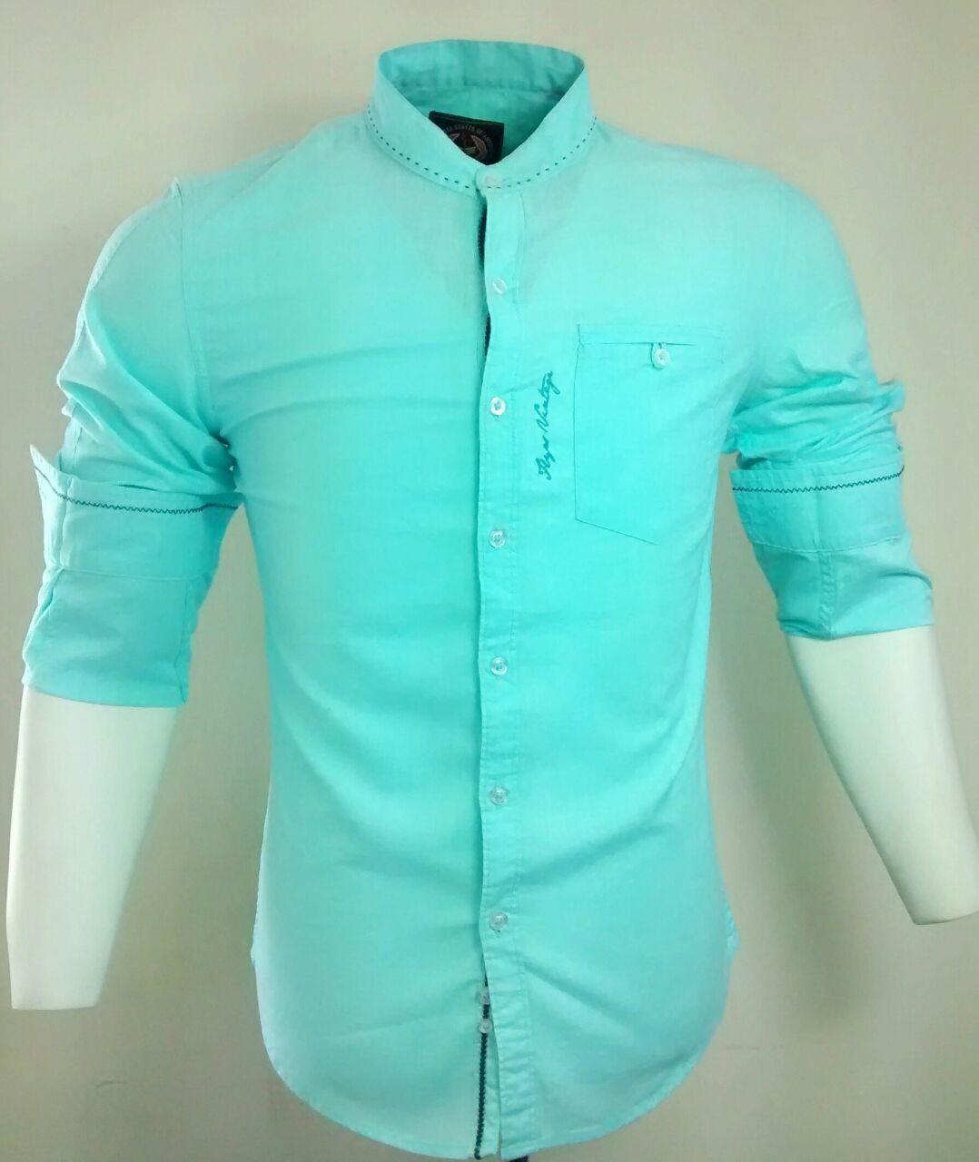 Casual Cotton Aqua Blue Stripes Shirt