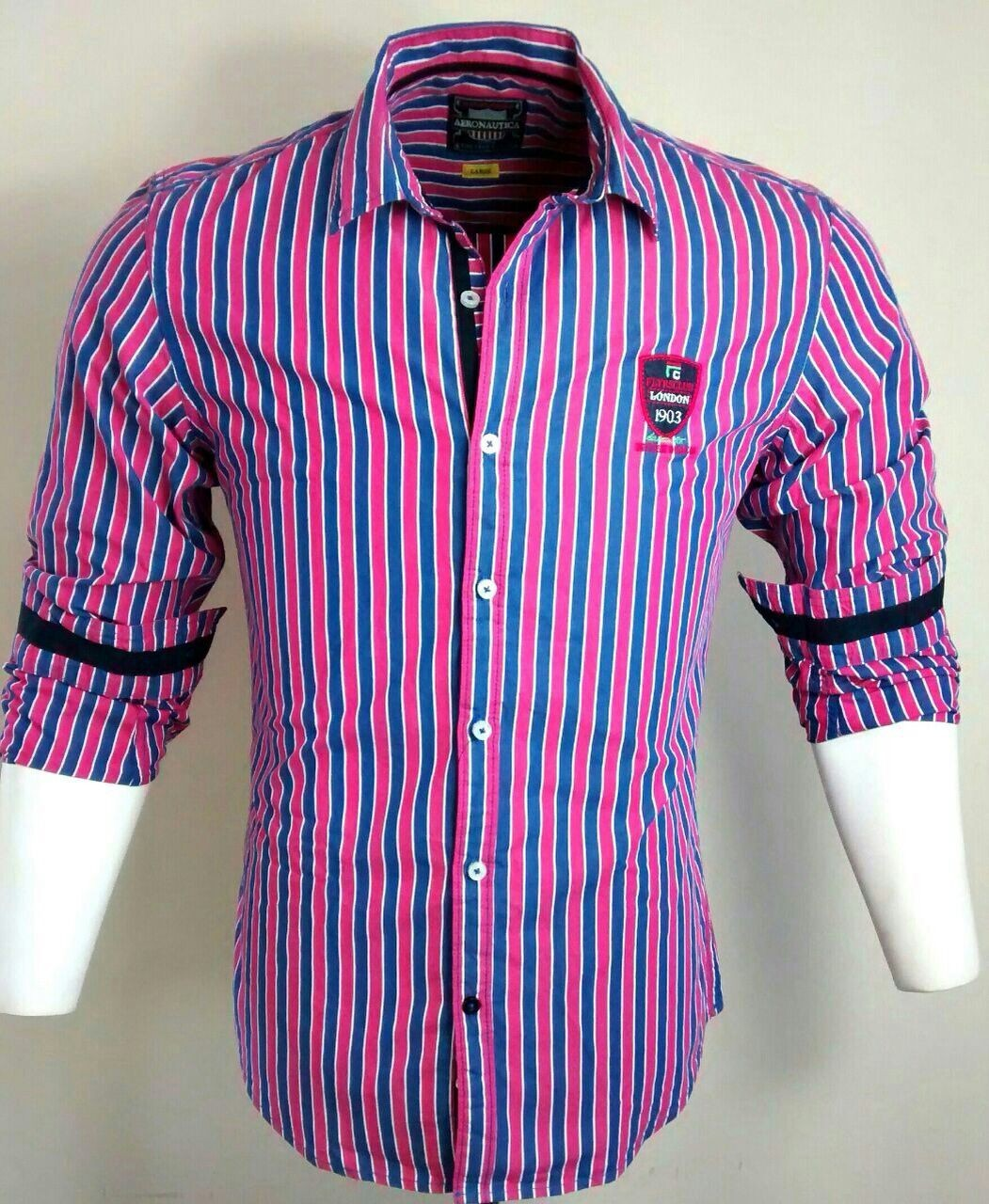 Casual Cotton Pink and Blue Check Shirt