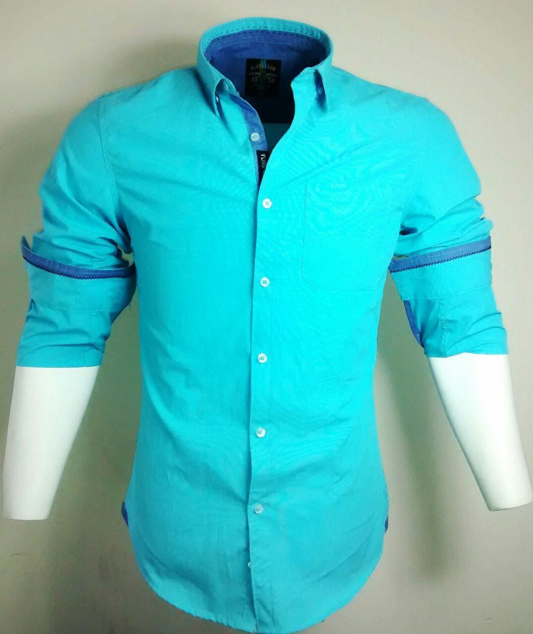 Casual Cotton Aqua Stripes Shirt