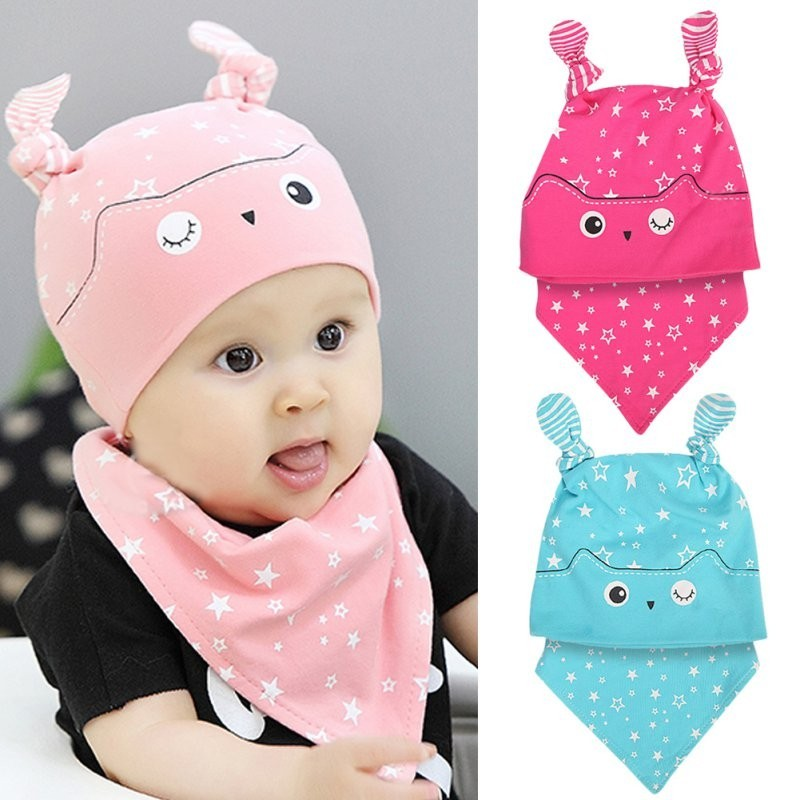 Infant Baby Girl Soft Cotton Hedging Hat With Bibs
