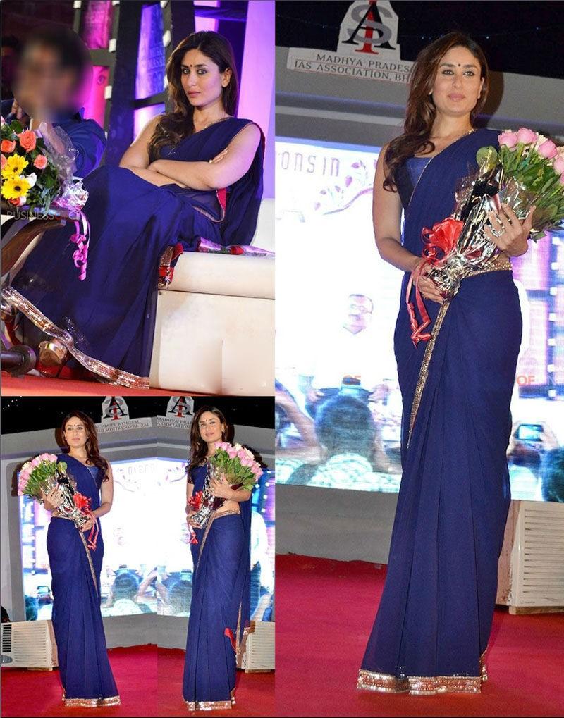 Karina Kapoor Satyagrah Promo Blue Saree