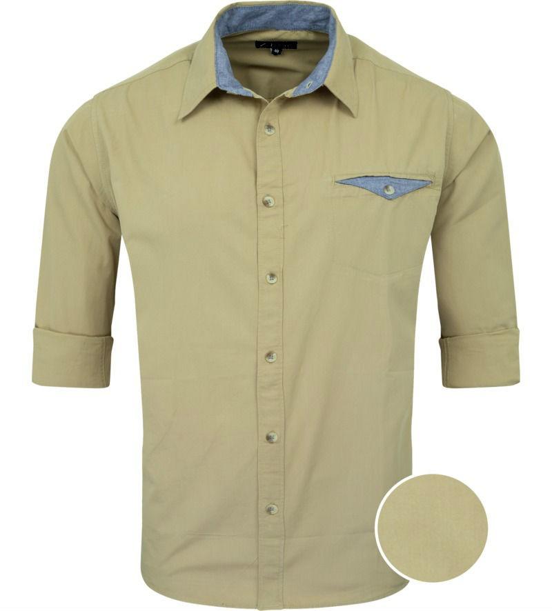Khaki Solid Casual Regular Fit Cotton Shirt 5