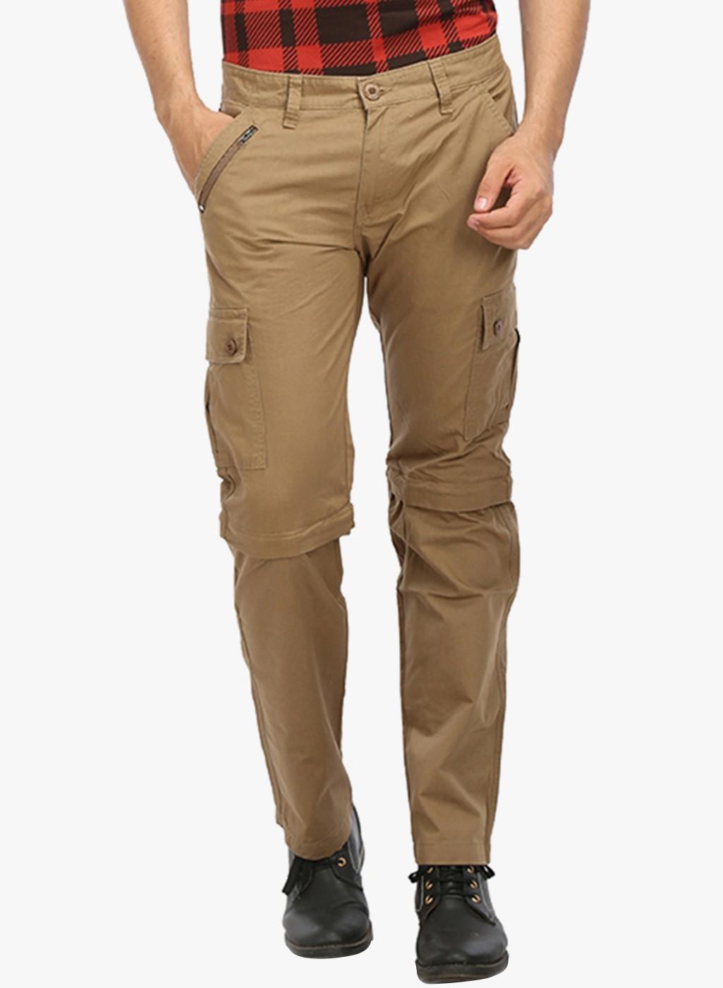 Khaki Solid Slim Fit Cotton Cargo