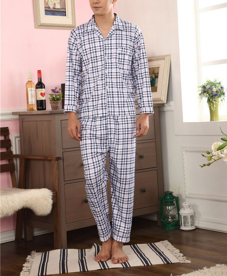 Latest Check Print Casual Mens Nightwear Sets