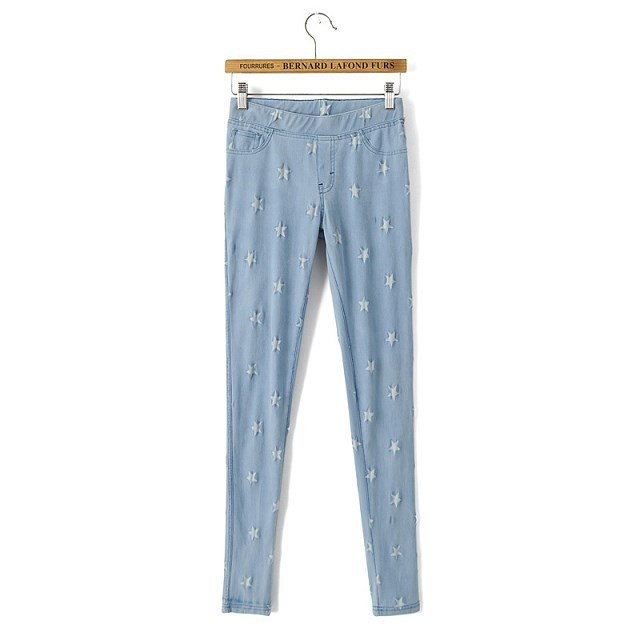 Latest Women Printed Ripped Skinny Jeans