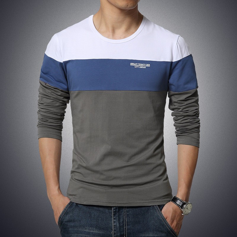 Men Fashion Patchwork O-neck Long-Sleeve Slim T- Shirts