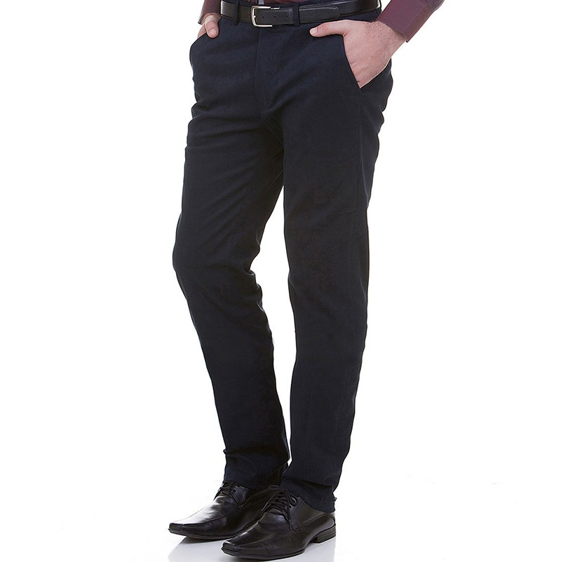 Mens Black Slim Fit Straight Formal Trousers