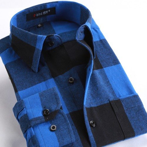 Mens Casual Plaid Long Sleeve Slim Fit Shirts