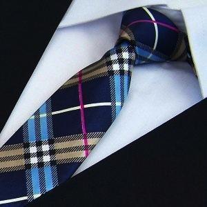 Mens Fashion Polyester Plaid Skinny Ties