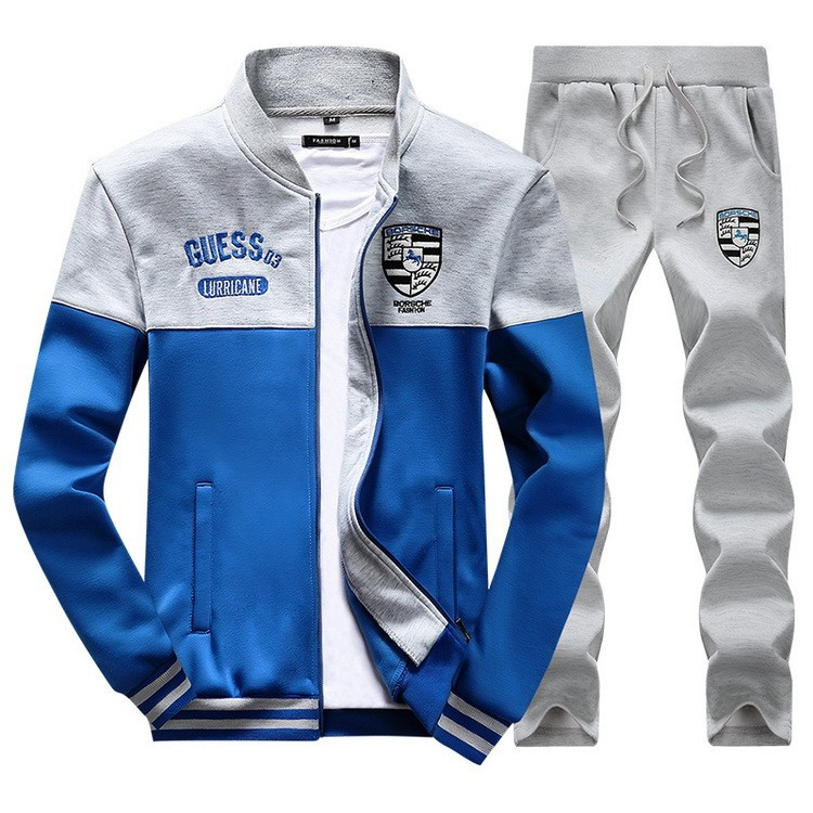 Mens Fashion Stand Collar Fleece Tracksuits
