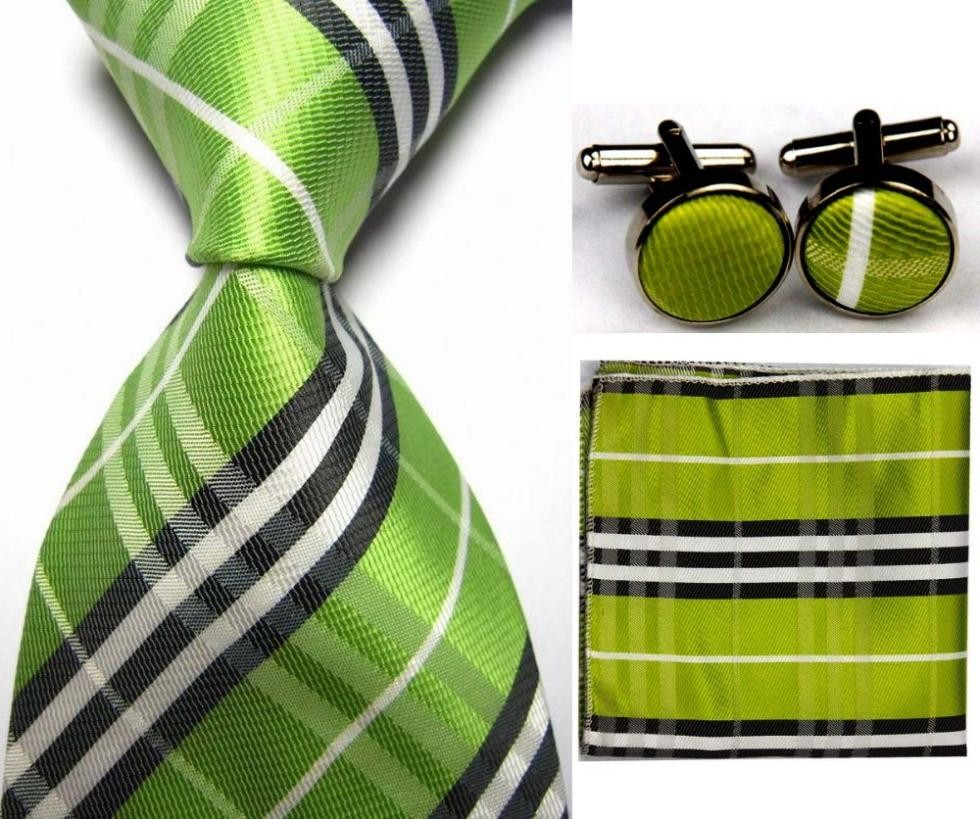 Mens Plain Silk & Check Pattern Neck Ties Set 1