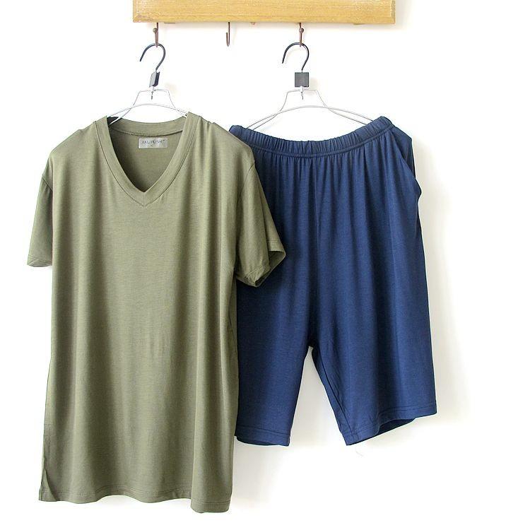 Mens Short Sleeve Solid V-neck Pajamas Sets