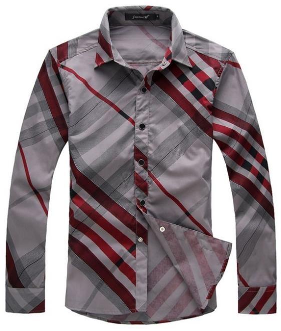 Mens Striped Pattern Slim Fit Casual Shirt